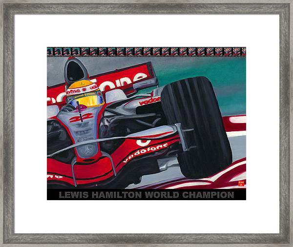 Lewis Hamilton F1 World Champion Pop Framed Print