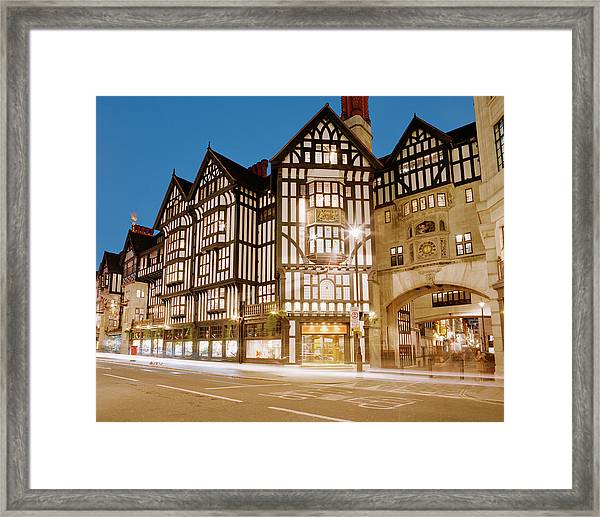 Liberty Department Store At Dusk Framed Print