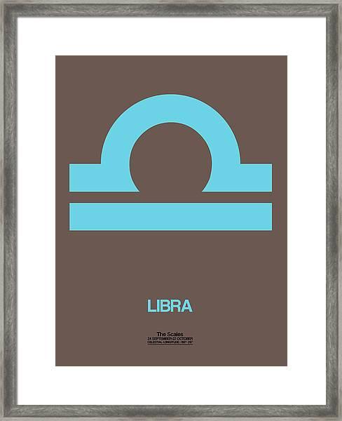 Libra Zodiac Sign Blue Framed Print