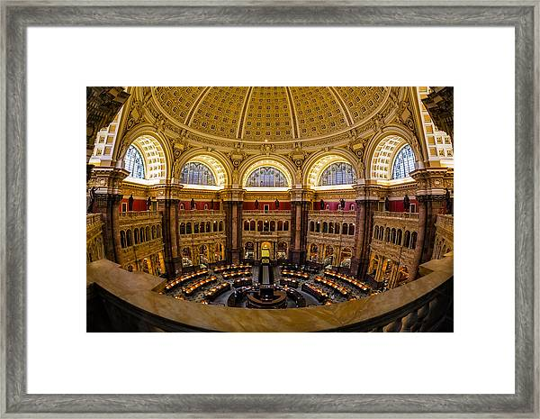 Framed Print featuring the photograph Library Of Congress Main Reading Room by Susan Candelario