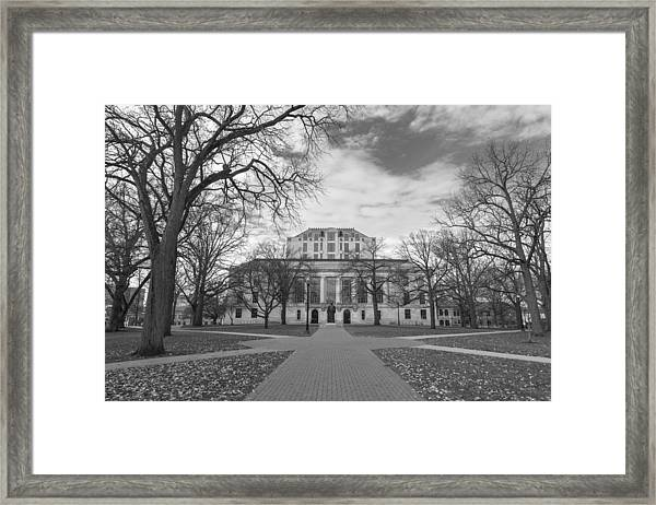 Library Ohio State University Black And White  Framed Print