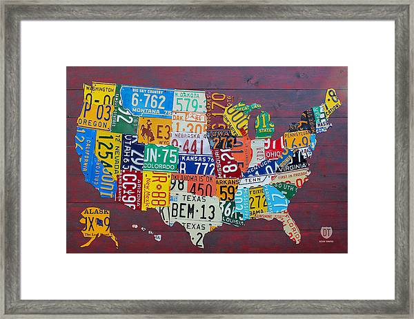 License Plate Map Of The United States Framed Print