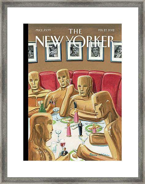Life Sized Oscar Awards At A Dinner Framed Print