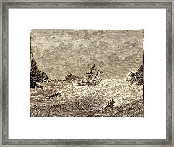 Lifeboat Approaching A Wreck Framed Print