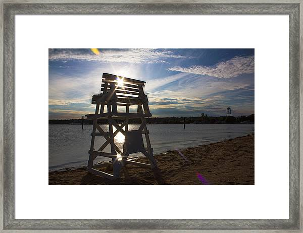 Lifeguard Stand Silhouette  Framed Print