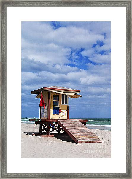 Lifeguard Station In Hollywood Florida Framed Print