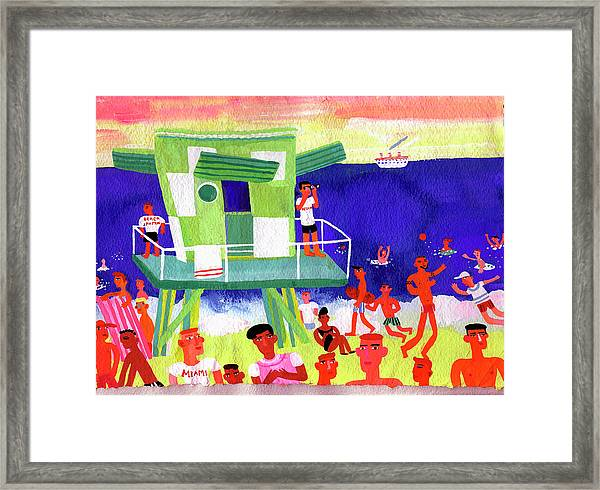 Lifeguard Station On Beach In Miami Framed Print by Christopher Corr