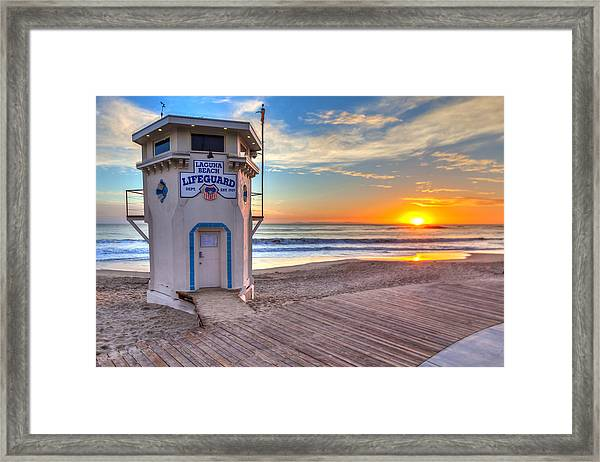 Lifeguard Tower On Main Beach Framed Print