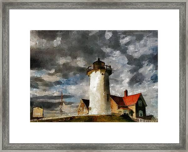 Light House In A Storm Framed Print
