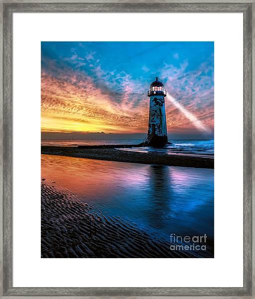 Light House Sunset Framed Print