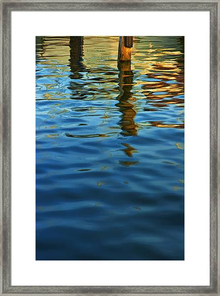 Light Reflections On The Water By A Dock At Aransas Pass Framed Print