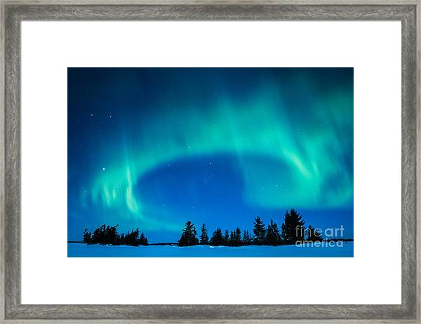 Light Swirl On Rainy Lake Framed Print