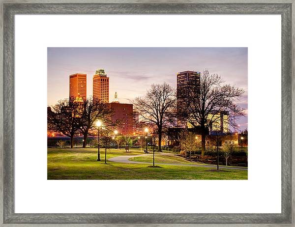Lighted Walkway To The Tulsa Oklahoma Skyline Framed Print