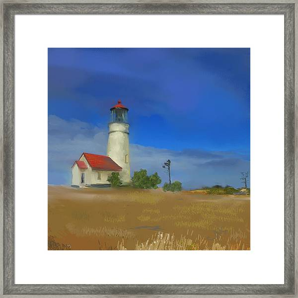 Lighthouse At Cape Blanco Framed Print by Dale Stillman