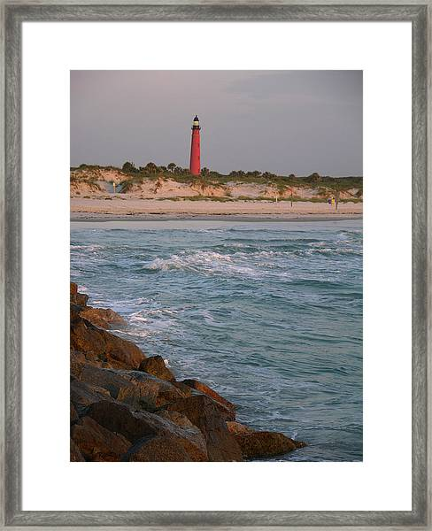 Lighthouse From The Jetty 2 Framed Print