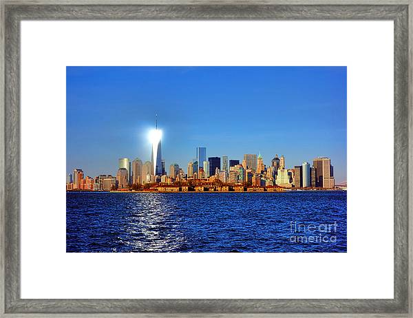 Lighthouse Manhattan Framed Print