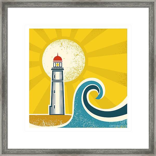 Lighthouse Poster.vector Vintage Framed Print