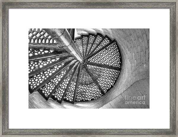 Lighthouse Stairs In Black And White Framed Print by Twenty Two North Photography
