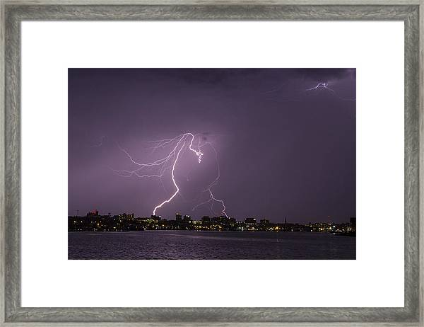 Lighting Over Portland Maine Framed Print