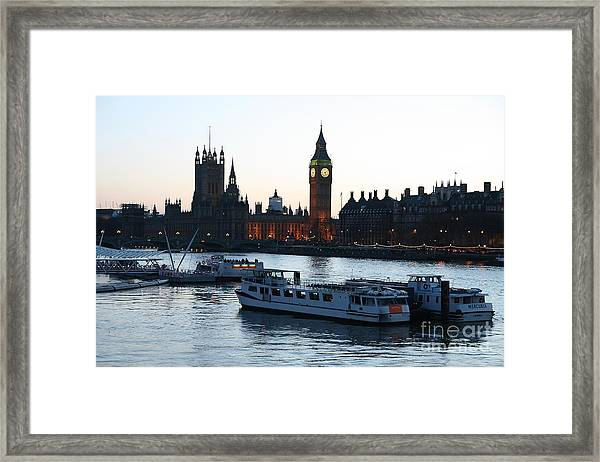 Lighting Up Time On The Thames Framed Print