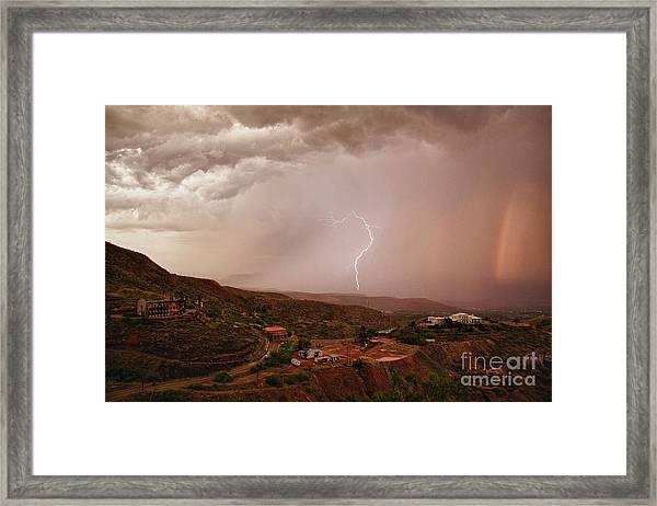 Lightning And A Rainbow Framed Print