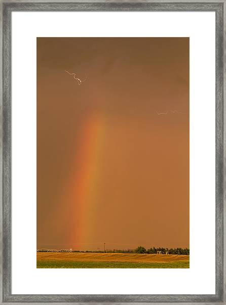 Lightning And Rainbow Framed Print