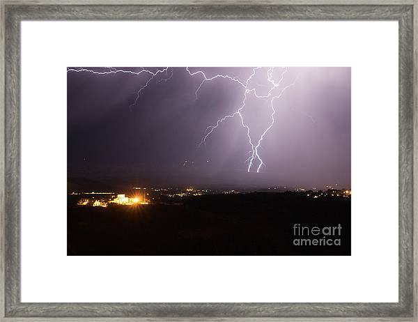 Lightning And The Douglas Mansion In Jerome Arizona Framed Print