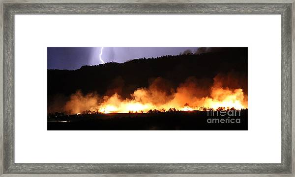 Lightning During Wildfire Framed Print