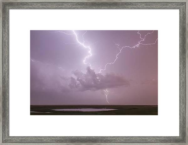 Lightning Over Cheyenne Bottoms Framed Print