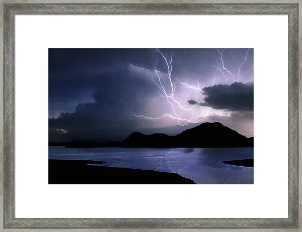 Lightning Over Quartz Mountains - Oklahoma Framed Print