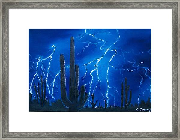 Lightning  Over The Sonoran Framed Print