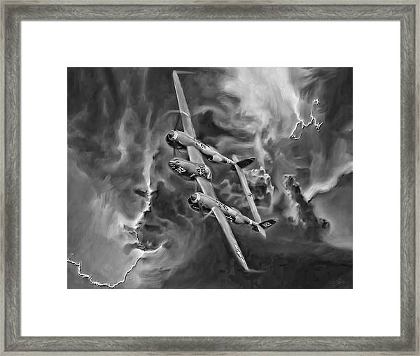 Lightning Strike-bw Framed Print by Peter Chilelli