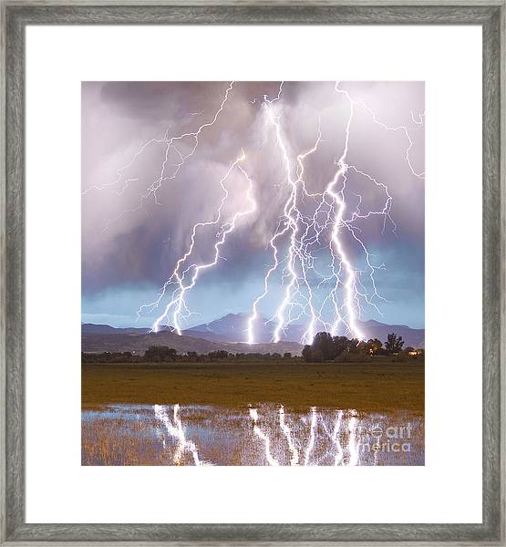 Lightning Striking Longs Peak Foothills 4c Framed Print