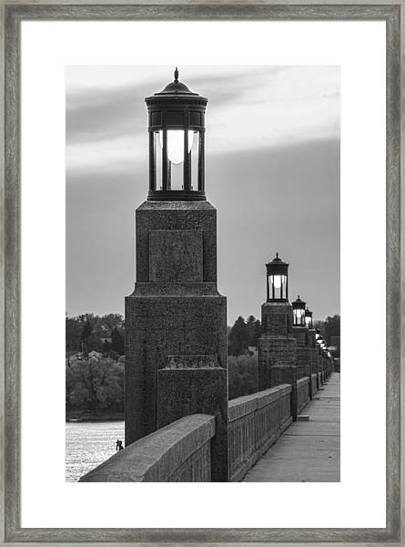 Framed Print featuring the photograph Lights Along The Columbia-wrightsville Bridge In Pennsylvania by Beth Sawickie