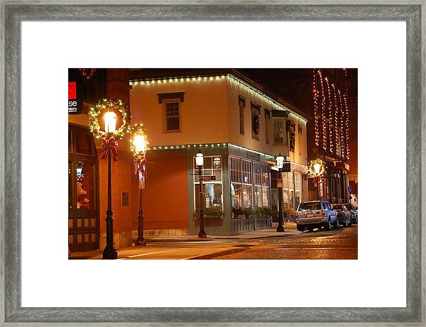 Lights Lowell Ma At Christmas Framed Print