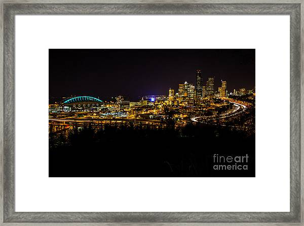 Lights Of Seattle Framed Print