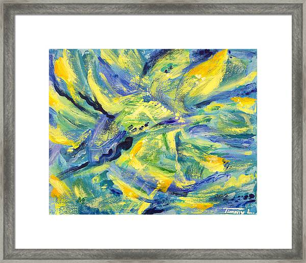 Lilies And The Sea Framed Print