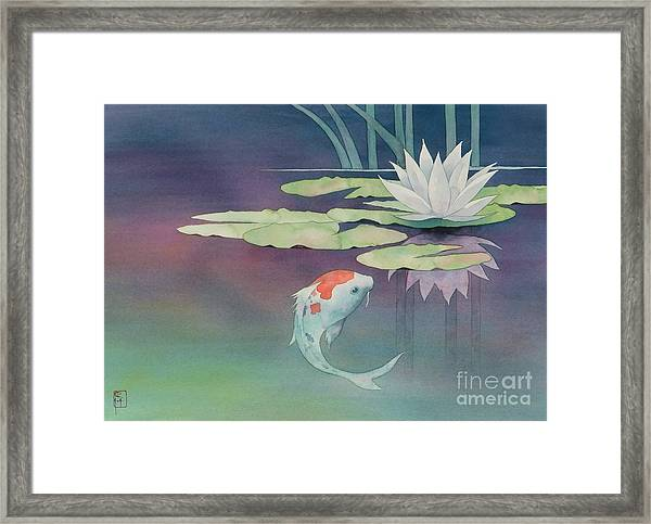 Lily And Koi Framed Print