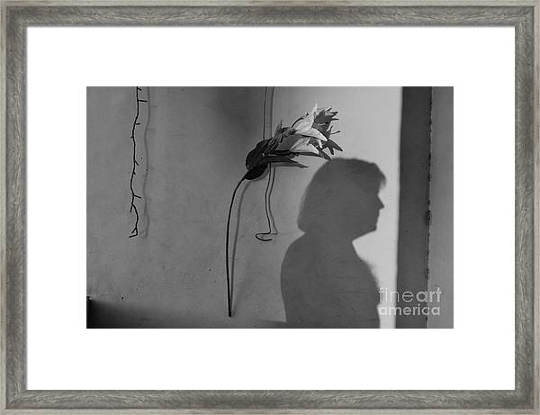 Lily And Male Figure Shadow Framed Print