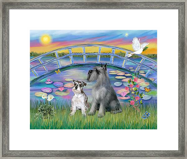 Lily Bridge With Two Schnauzers Framed Print