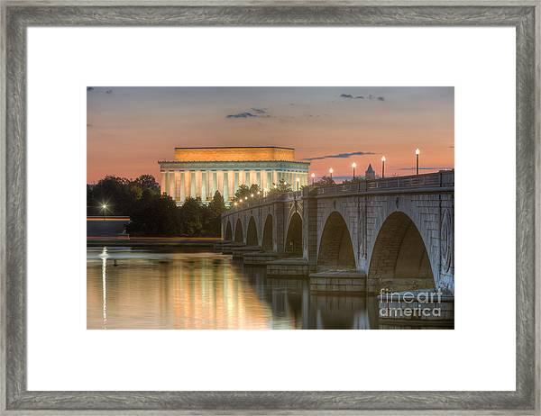Lincoln Memorial And Arlington Memorial Bridge At Dawn I Framed Print