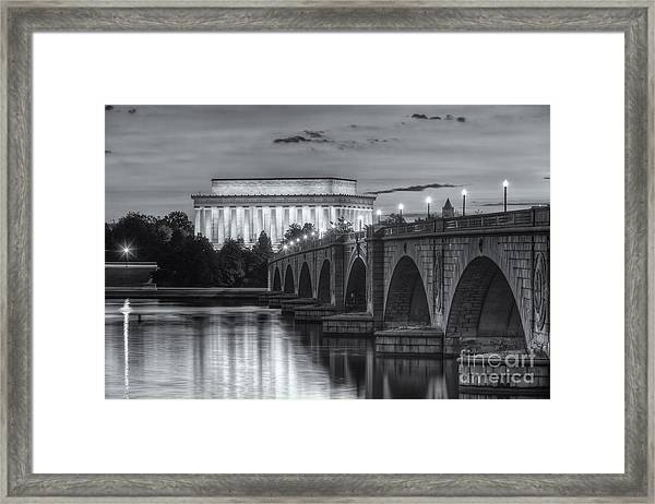 Lincoln Memorial And Arlington Memorial Bridge At Dawn II Framed Print