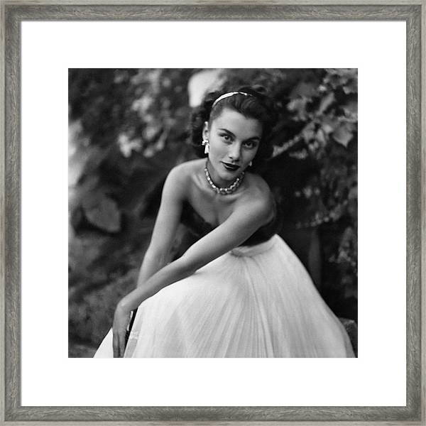 Linda Christian Wearing A Ball Gown Framed Print