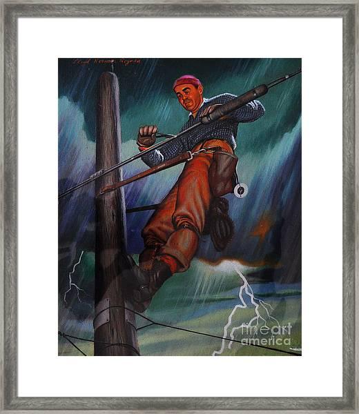 Lineman In Storm Framed Print