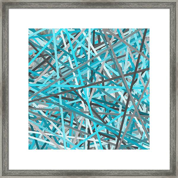Link - Turquoise And Gray Abstract Framed Print