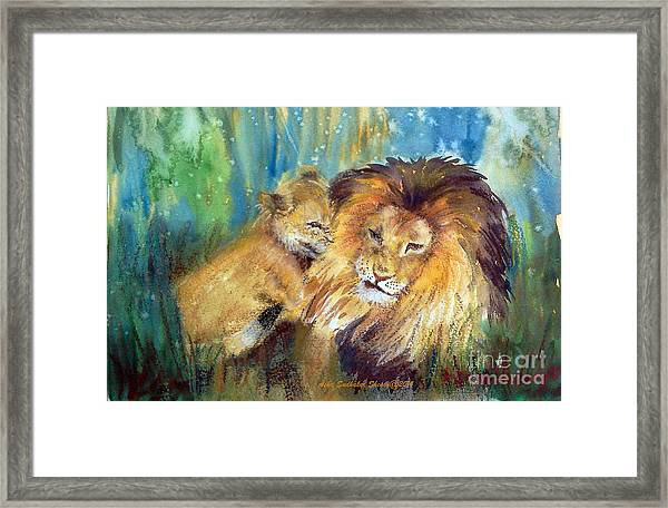 Lion And Cub -2 Framed Print