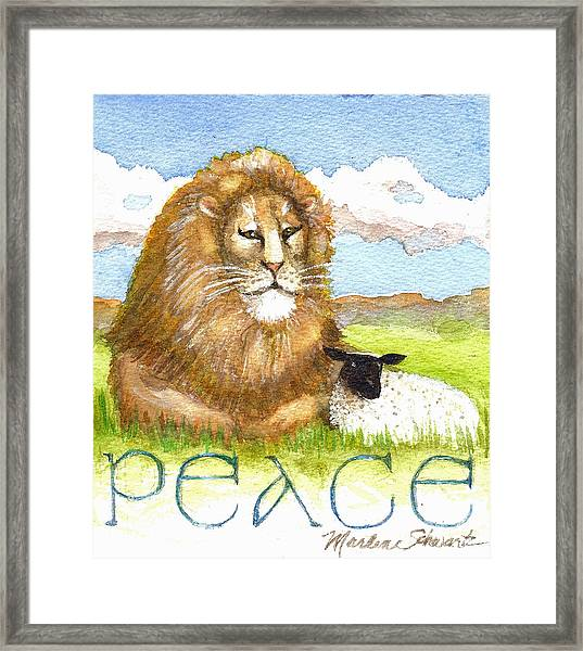 Lion And Lamb - Peace  Framed Print