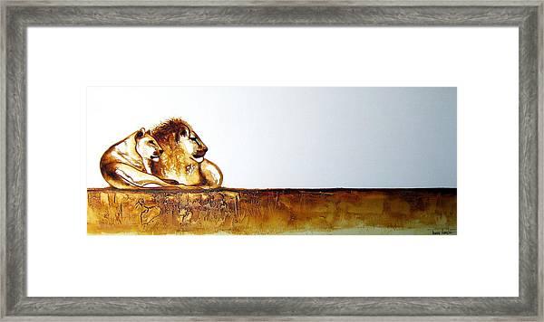 Lion And Lioness - Original Artwork Framed Print