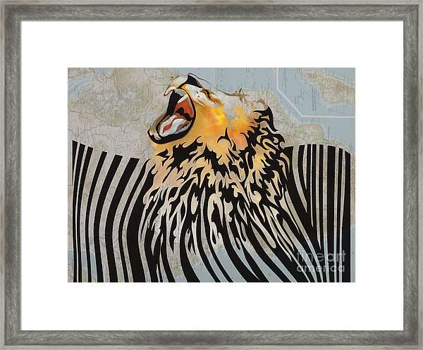 Lion Barcode Framed Print