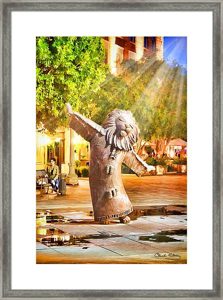 Lion Fountain Framed Print
